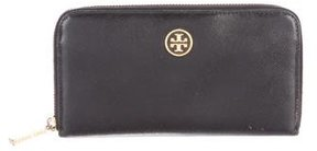 Tory Burch Leather Continental Wallet - BLACK - STYLE
