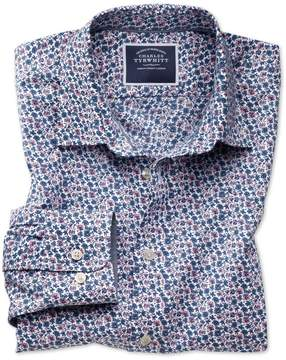 Charles Tyrwhitt Classic Fit Non-Iron Pink Multi Floral Print Cotton Casual Shirt Single Cuff Size XL