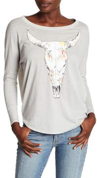 Chaser Back Cutout Cow Skull Tee