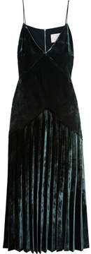Dion Lee Pleated Velvet Midi Dress - Emerald