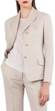 Akris Wool Cotton Piqué 3-Button Blazer Jacket