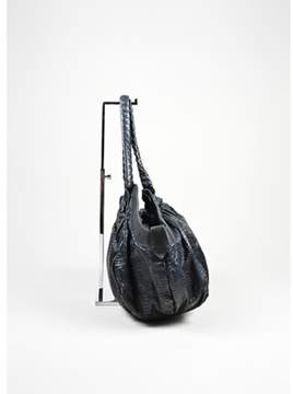 Christian Louboutin Pre-owned Black Leather Embossed Snakeskin telescope Satchel Bag.