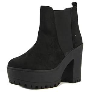 Coolway Atenas Women Round Toe Synthetic Black Ankle Boot.