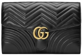 Gucci Gg Marmont 2.0 Matelasse Leather Clutch - Black - BEIGE - STYLE