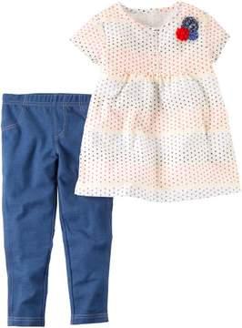 Carter's Baby Girls Dot Babydoll Top Leggings Set