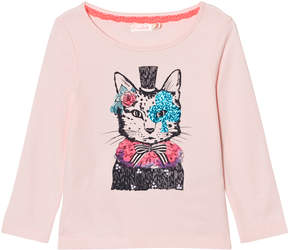Billieblush Pale Pink Cat in a Hat Print Long Sleeve Tee