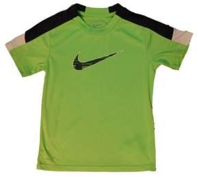 Nike Swoosh Boys Volt Green/Navy Blue Dri-Fit Tee Active T-Shirt Size 5