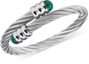 Charriol Women's Celtic Malachite-Accent Stainless Steel Cable Bangle Bracelet