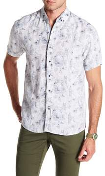 Report Collection Flower Short Sleeve Slim Fit Linen Shirt