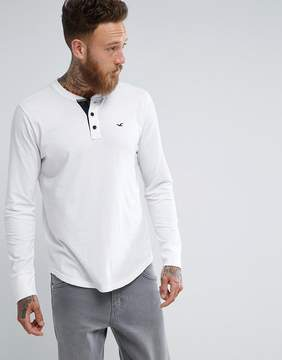 Hollister Long Sleeve Top Henley Icon Logo Slim Fit in White
