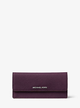 Michael Kors Jet Set Travel Saffiano Leather Wallet - PURPLE - STYLE