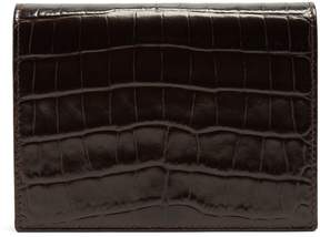 Smythson Mara crocodile-effect leather bridge card case