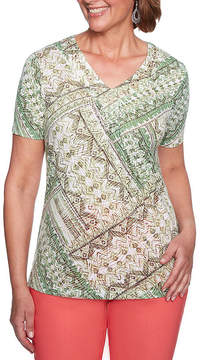 Alfred Dunner Parrot Cay 3/4 Sleeve Crew Neck Patchwork T-Shirt-Womens