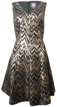 Vince Camuto Women's V-neck Metallic Chevron Dress