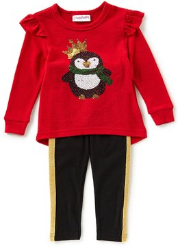 Flapdoodles Little Girls 2T-6X Christmas Penguin Tunic & Leggings Set