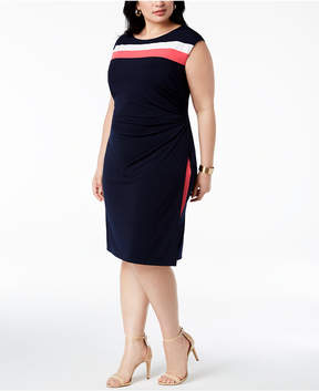 Connected Plus Size Striped Cap-Sleeve Dress