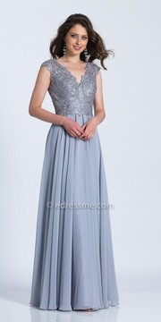Dave and Johnny Cap Sleeve Illusion Embroidered A-line Evening Dress