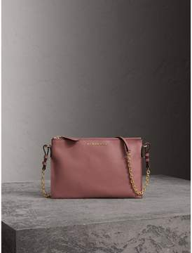 Burberry Leather Clutch Bag with Check Lining