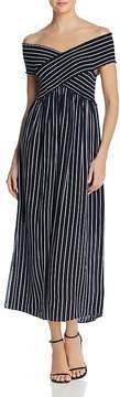 Aqua Striped Off-the-Shoulder Maxi Dress - 100% Exclusive