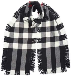Burberry Fringed Check Wool Scarf - Black
