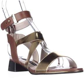 French Connection Corazon Ankle Strap Low Dress Sandals, Gold/tan.