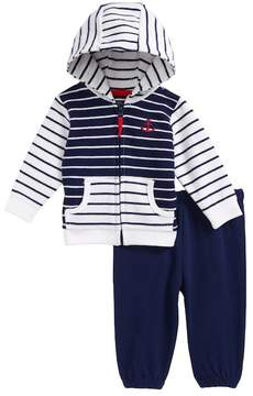 Little Me Stripe Mix French Terry Jacket & Pants Set (Baby Boys)