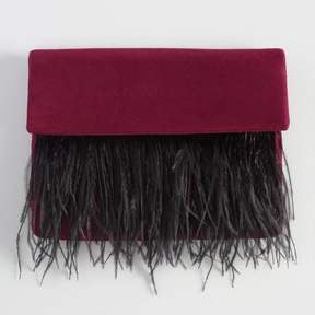 World Market Wine Faux Suede Clutch with Ostrich Feathers