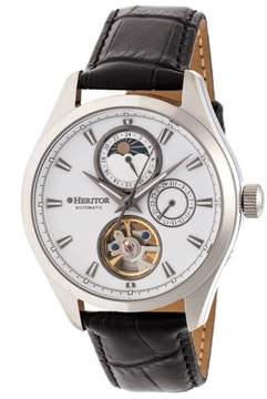 Heritor Sebastian White Moonphase Dial Black Leather Strap Automatic Men's Watch