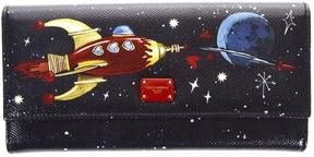 Dolce & Gabbana Space Print Dauphine Leather Wallet - BLU/MULTICOLOR - STYLE