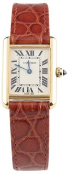 Cartier Tank 2442 18K Yellow Gold & Leather 25mm Watch