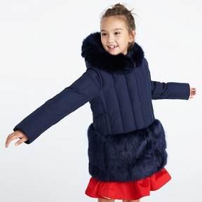 J.Crew Girls' fur-trimmed puffer coat