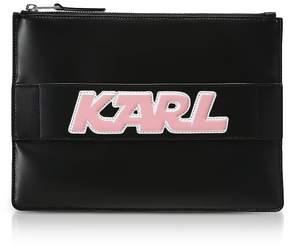 Karl Lagerfeld Black Leather K/Sporty Pouch