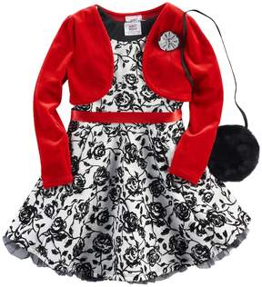 Knitworks Girls 4-6x Shrug & Rose Print Skater Dress