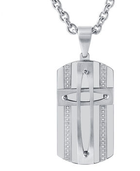 JCPenney FINE JEWELRY Mens Stainless Steel Cubic Zirconia Dog Tag Cross Pendant Necklace