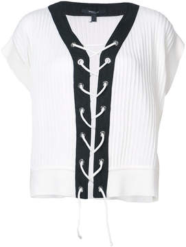 Derek Lam Cropped Short Sleeve Sweater With Lacing Detail