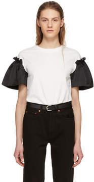 Edit White and Black Satin Frill Sleeve T-Shirt