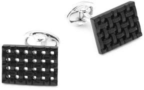 Jan Leslie Men's Onyx and Sterling Silver Rectangle Cuff Links