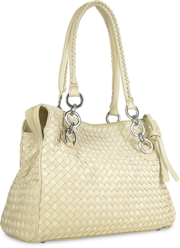 Fontanelli Ivory Woven Italian Suede & Leather Satchel Bag