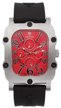 Croton Men's Industrial Silvertone Stainless Silicon Strap Watch with Red Dial
