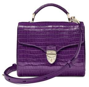 Aspinal of London Midi Mayfair Bag In Deep Shine Topaz Small Croc
