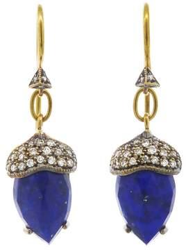 Cathy Waterman Rose Cut Lapis Acorn Earrings - 22 Karat Gold