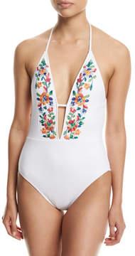 LaBlanca La Blanca Eden Floral-Embroidered Halter One-Piece Swimsuit, White