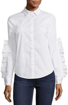 BELLE + SKY Ruffle Sleeve Button Down Shirt
