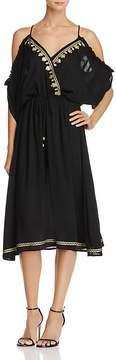 En Creme Cold-Shoulder Gauze Maxi Dress
