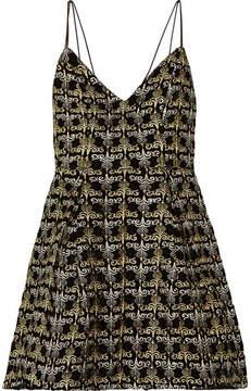 Alice + Olivia Alice Olivia - Marilla Embellished Embroidered Velvet Mini Dress - Black