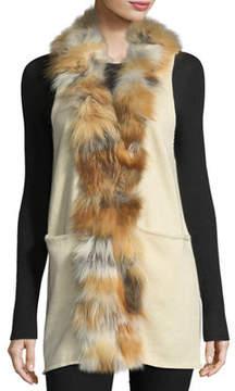 Adrienne Landau Fur-Trim Long Knit Vest