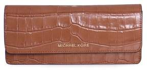 Michael Kors Money Pieces Crocodile-embossed Leather - Flat Wallet - Acorn - 32F7GF6F2E-532 - ACORN - STYLE