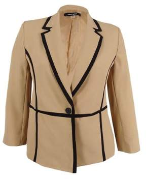 Nine West Women's Trimmed One-Button Notched Blazer 16, Latte/Black