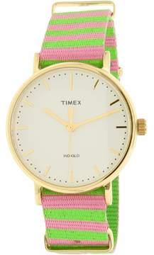 Timex Women's Weekender TW2P91800 Gold Nylon Quartz Fashion Watch