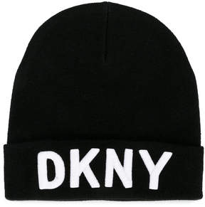 DKNY logo embroidered knitted hat